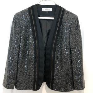 Tahari Charcoal Wool Sequins Blazer Size 12